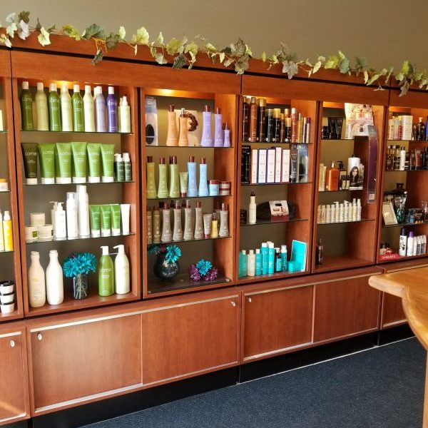 A wall of hair products.